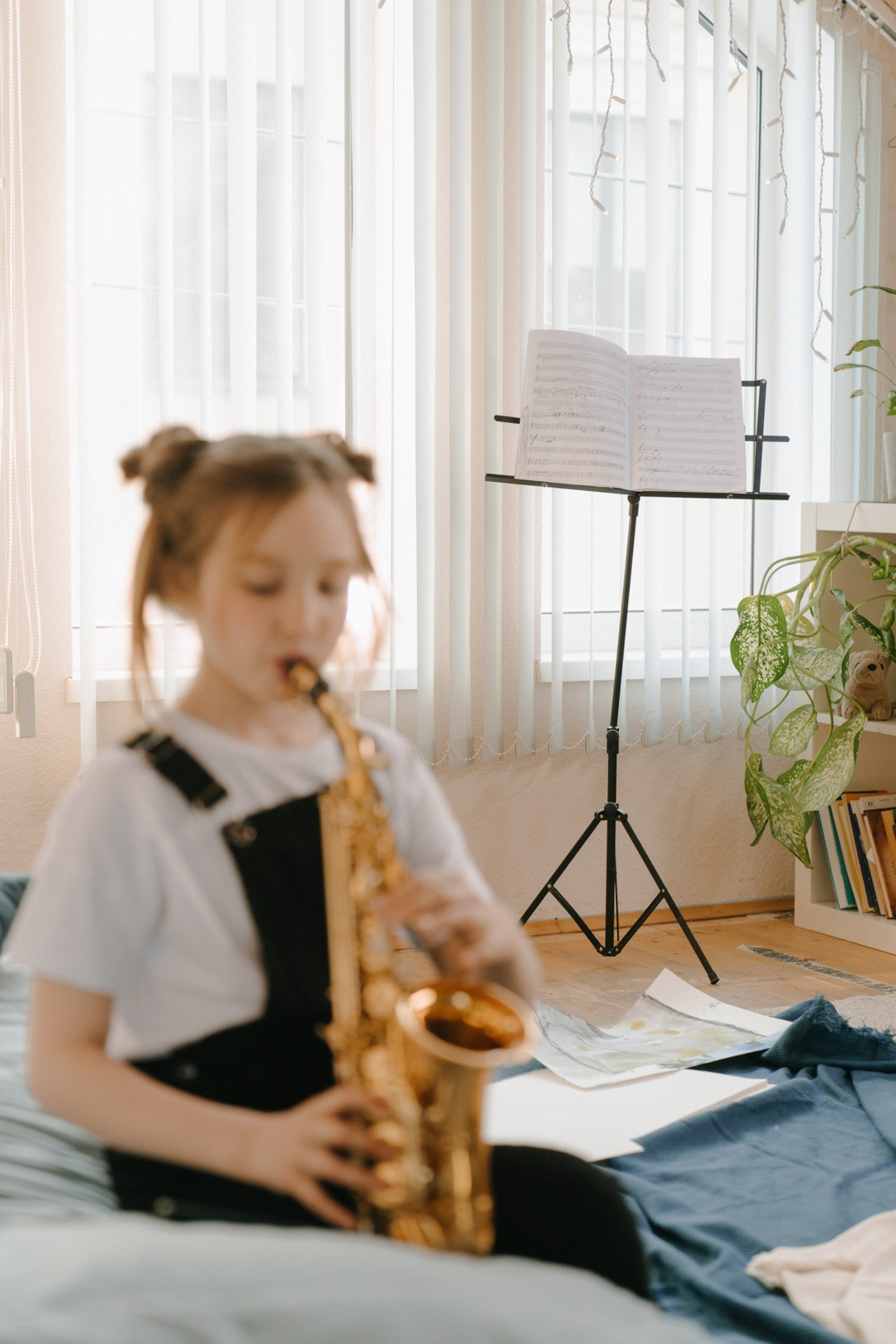 Girl playing the saxophone